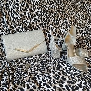 Rampage silver glitter heels and matching clutch